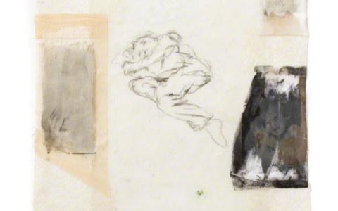 Repos, Jérémie dort à même le sol, photographies sur tissus, dessin, résine, 120cm*80cm, novembre 2003, Marie-Claire Raoul