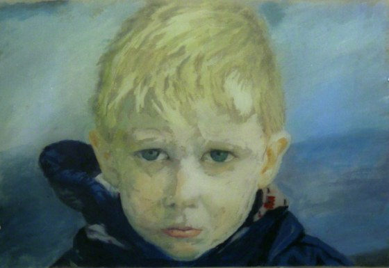 Jérémie est furieux (détail 1 : portrait de jérémie, peinture acrylique sur toile), Marie-Claire Raoul
