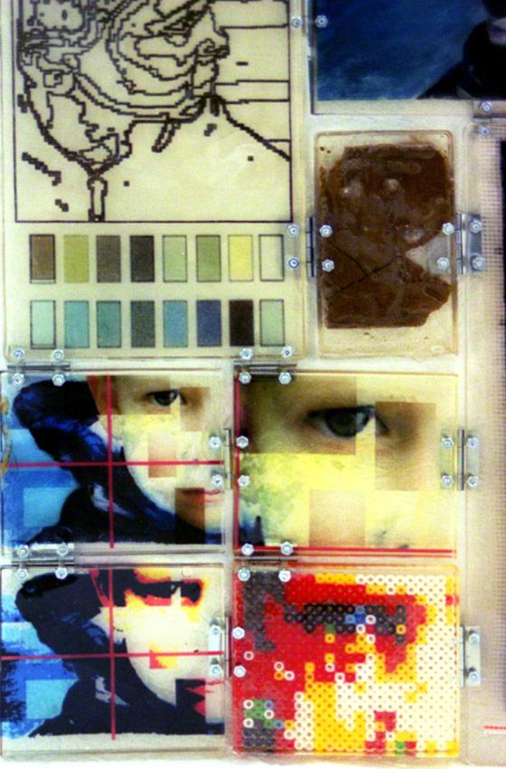 Jérémie est furieux (détail 4 : terre, codification numerique, peinture, jeux,montage), Marie-Claire Raoul