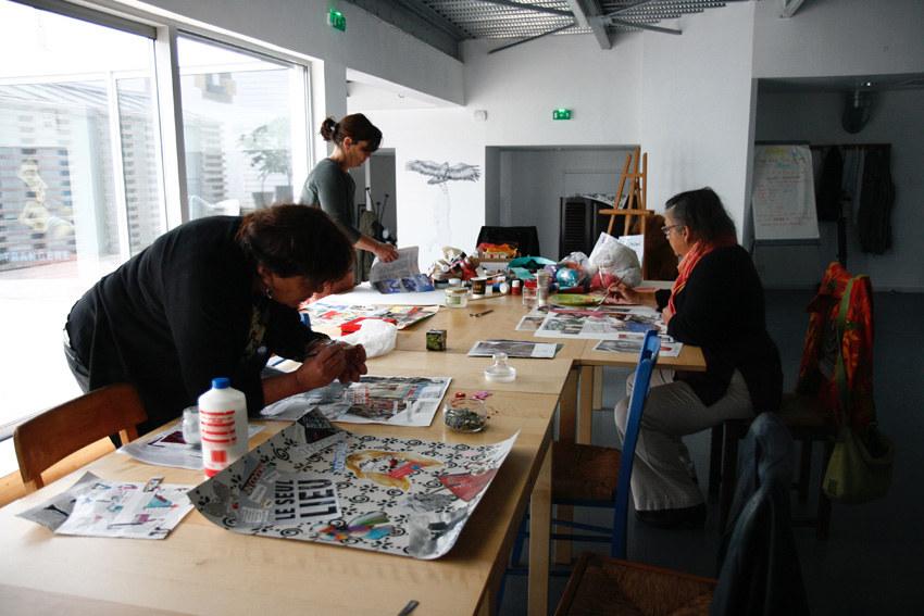 Atelier Femme à histoire, histoires de femmes, espace Lcause, montages photos