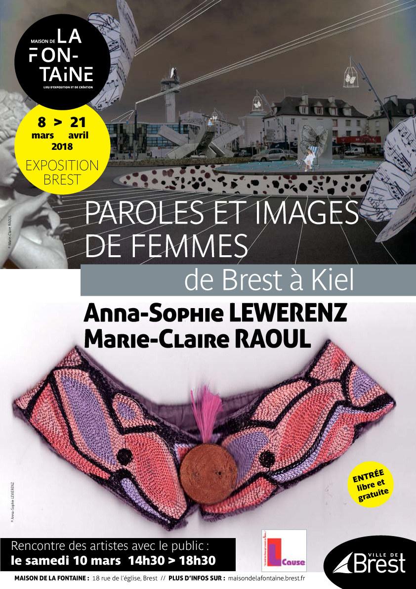 """Affiche pour l'exposition """"Paroles et images de femmes de brest à Kiel"""" à la Maison de la Fontaine à Brest, du 8 mars au 21 avril 2018"""