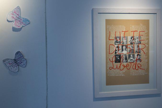 Salle 2, Papillons, Lutte-Désir-Liberté, sérigraphie sur papier, Paroles et images de femmes de Brest à Kiel, Maison de la Fontaine, du 7 mars au 21 avril 2018, Brest, Marie-Claire Raoul