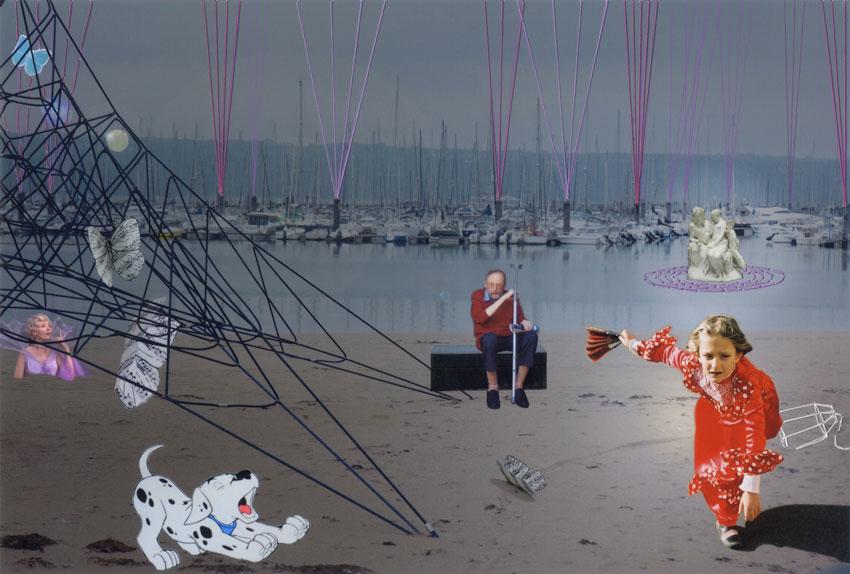 Montage photographies, Psyche ou Adèle dans la ville, rue de Palaren, au dessus de la plage du Moulin blanc, Brest,Marie-Claire Raoul, Marie-Claire Raoul