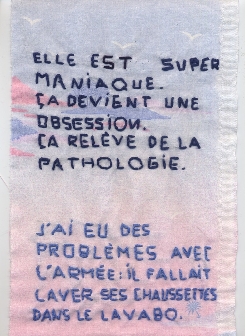 Trame conjugale, broderie, Marie-Claire Raoul