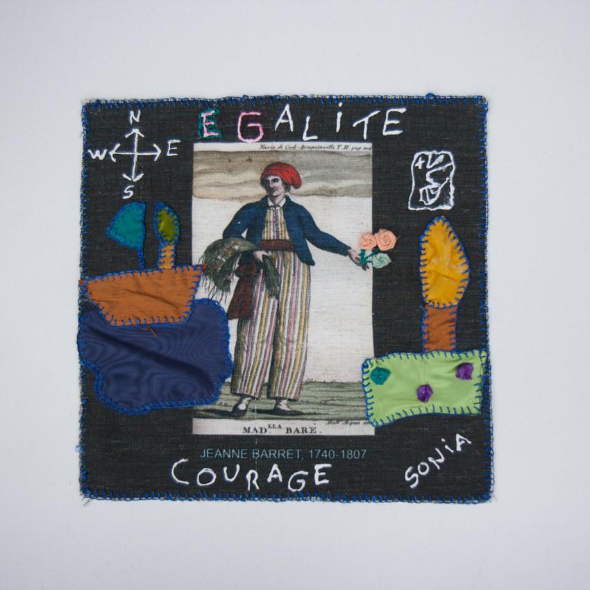 Création de Sonia Cunha, installation textile collective, Paroles et images de femmes, Lcause, Brest, exposition de mai à juin 2018, Marie-Claire Raoul
