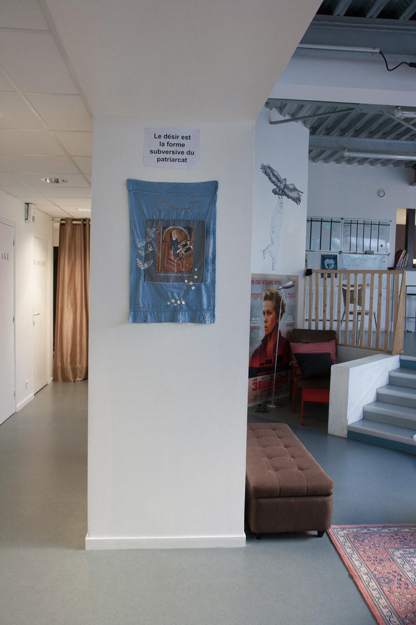 travail de Muriel Florentin autour de Hildegarde Bingen, Installation textile collective, Paroles et images de femmes, Lcause, Brest, exposition de mai à juin 2018, Marie-Claire Raoul