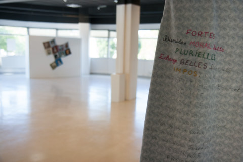 Présentation de l'exposition Paroles et images de femmes par l'artiste plasticienne Marie-Claire Raoul, à la galerie Les Abords, dans le cadre de l'académie d'été 2018 Etudes sur le genre organisée par l'UBO et l'université de Rennes 2.
