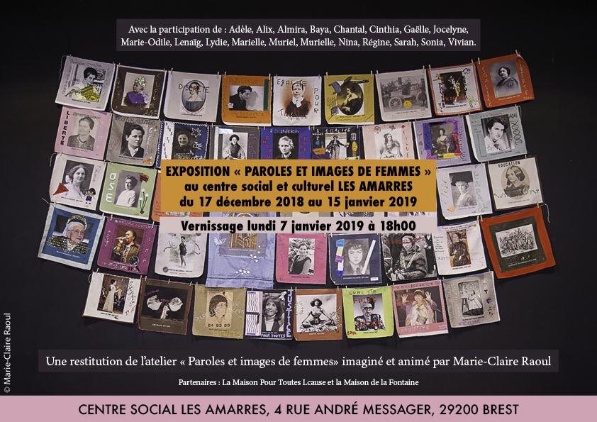 Affiche pour l'exposition [Paroles et images de femmes aux Amarres], du 17 décembre 2018 au 15 janvier 2019 aux centre social les Amarres à Brest.