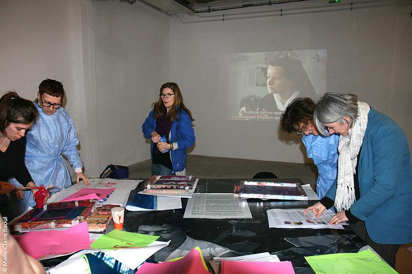 Visite des expositions-Atelier de sérigraphie autour du travail de Corita Kent au CAC Passerelle à Brest avec les filles de Lcause le 5 janvier 2019