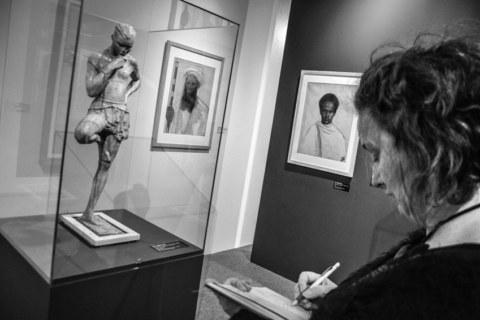 Visite du Musée des Beaux-Arts de Brest le 7 février 2019, atelier [Femmes créatives, femmes libres] de Marie-Claire Raoul, Pennavouez en Saint-Nic (1975), peinture d'André Raffray