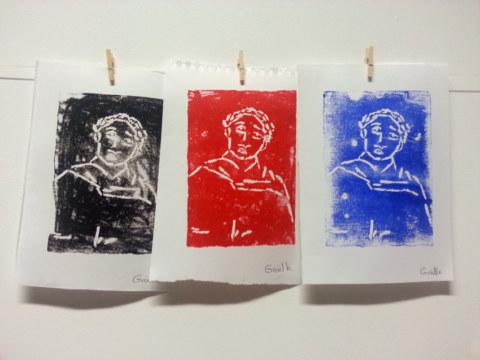 Séquence 5 de l'atelier [femmes créatrices femmes libres] de Marie-Claire Raoul, 22 mars 2019, linogravure de Gaëlle