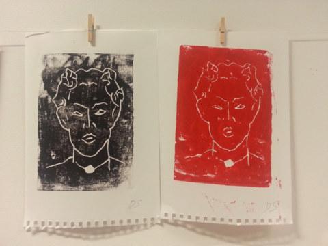 Séquence 5 de l'atelier [femmes créatrices femmes libres] de Marie-Claire Raoul, 22 mars 2019, linogravure de Dany