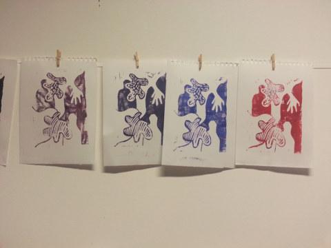 Séquence 5 de l'atelier [femmes créatrices femmes libres] de Marie-Claire Raoul, 22 mars 2019, linogravure d'Anna