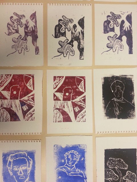 Séquence 5 de l'atelier [femmes créatrices femmes libres] de Marie-Claire Raoul, 22 mars 2019, linogravure