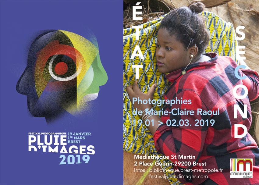 Affiche pour l'exposition [État second] de Marie-Claire Raoul à la médiathèque St Martin à Brest dans le cadre de Pluie d'images 2019