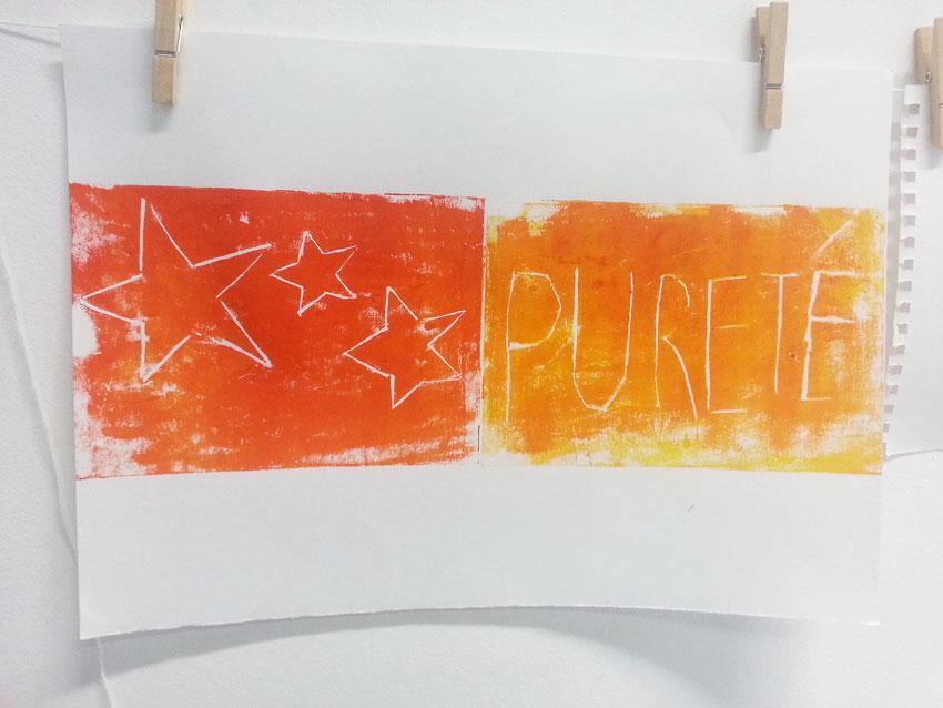 Atelier [Femmes créatrices, femmes libres], séquence 6, linogravure, création de Nadja Cuzon , 5 avril 2019 à la Maison Pour Toutes Lcause avec Marie-Claire Raoul