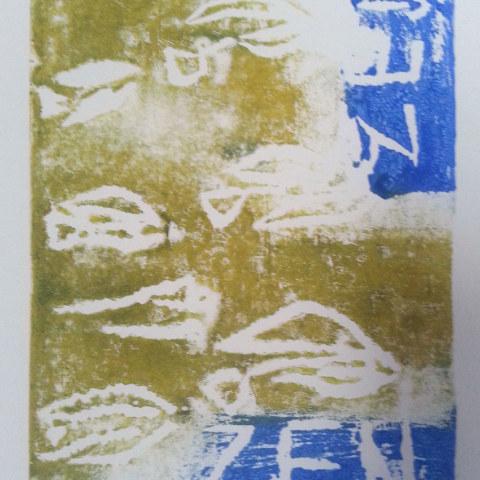 Atelier [Femmes créatrices, femmes libres], séquence 6, linogravure, création de Yveline Gouez , 5 avril 2019 à la Maison Pour Toutes Lcause avec Marie-Claire Raoul
