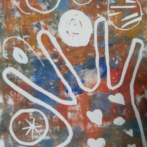 Atelier [Femmes créatrices, femmes libres], séquence 6, linogravure, création de Marie-Odile Camus, 5 avril 2019 à la Maison Pour Toutes Lcause avec Marie-Claire Raoul