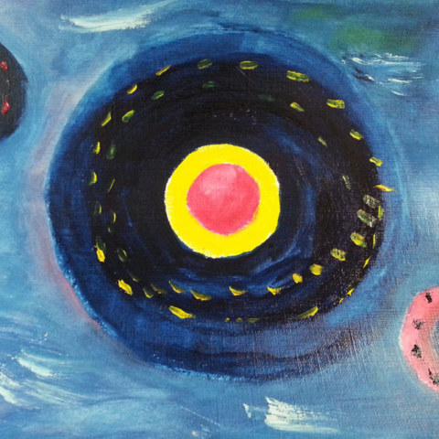 Atelier [Femmes créatrices, femmes libres], séquence 9, peinture à l'huile, paysages stellaires, 3 mai 2019 à la Maison Pour Toutes Lcause avec Marie-Claire Raoul