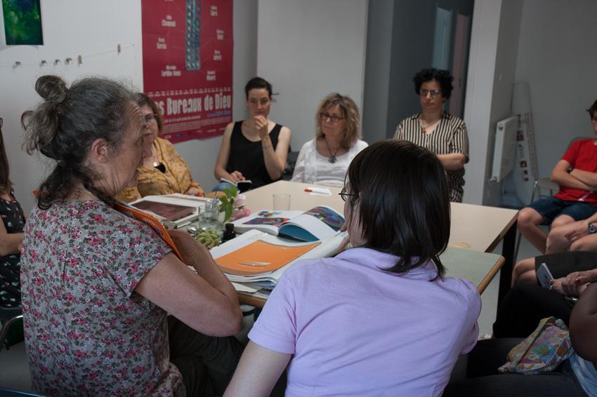 Intervention de l'artiste plasticienne Marie-Michèle Lucas sur la gravure à l'espace Lcause le 5 juillet 2019 dans le cadre de l'atelier [Femmes créatrices, femmes libres !] de Marie-Claire Raoul