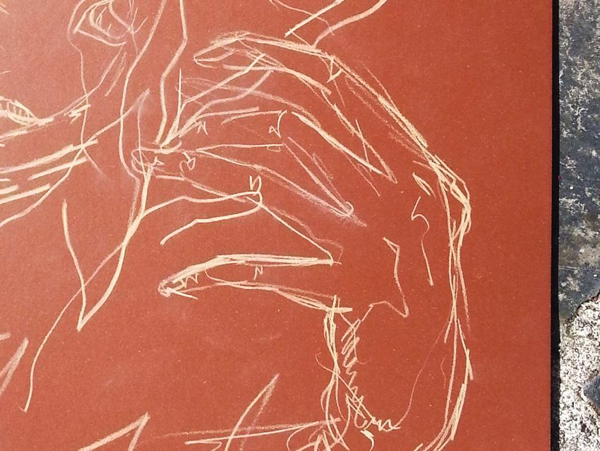 Atelier [Femmes créatrices, femmes libres], séquence 13, linogravure (détail) d'Élisa Guilbert, 14 juin 2019 à la Maison Pour Toutes Lcause avec Marie-Claire Raoul