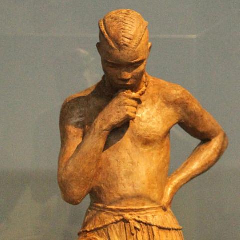 L'archer conagui, sculpture d'Anna Quinquaud, plâtre patiné façon terre cuite, vers 1930