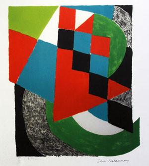 [Damier vert], lithographie de Sonia Delaunay, sans date, collection de l'arthotèque du musée des Beaux-Arts de Brest