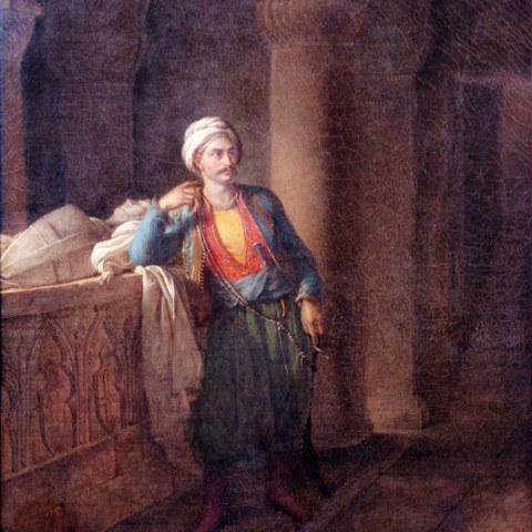 Malek-Adhel attendant Mathilde au rendez-vous qu'elle lui a donné devant le tombeau de Josselin de Montmorency, huile sur toile d'Eugénie Servières, 1820