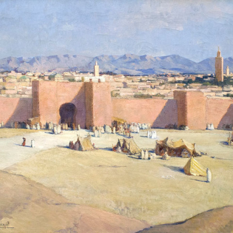 Marrakech, la muraille rose, huile sur toile de Thérèse Clément, 1936