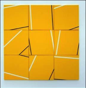 """""""Parallèles sur fond jaune"""", acrylique sur toile de Véra Molnar"""