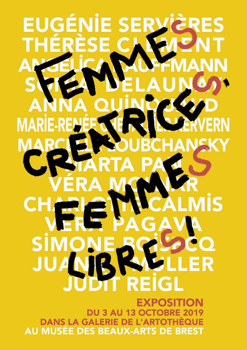 """Affiche de l'exposition """"Femmes créatrices, femmes libres !"""" à l'artothèque du musée des Beaux-Arts à Brest"""