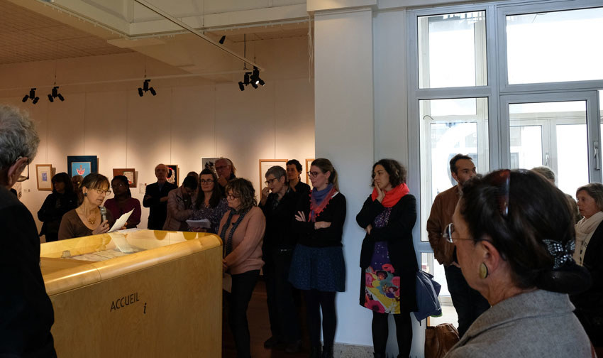 Vernissage de l'exposition [Femmes créatrices, femmes libres !] le 2 octobre 2019 au musée des beaux-arts de Brest, intervention de Marie-Odile Camus, projet conçu et animé par Marie-Claire-Raoul