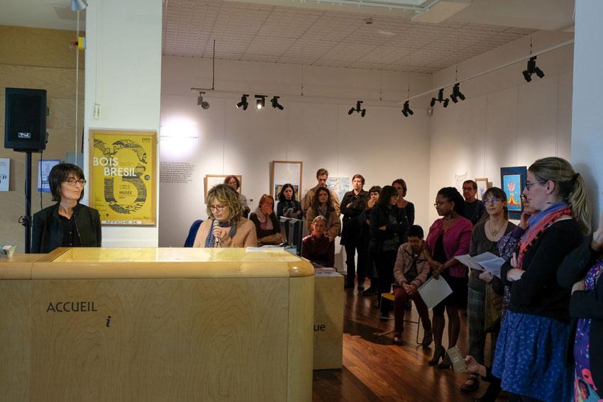Vernissage de l'exposition [Femmes créatrices, femmes libres !] le 2 octobre 2019 au musée des beaux-arts de Brest, intervention d'Yveline, projet conçu et animé par Marie-Claire-Raoul