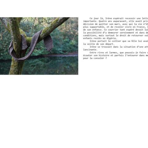 BAT du livre [Je voudrais aller me promener dans les bois : Métamorphoses], photographies et textes de Marie-Claire Raoul, novembre 2019, page d'Irène