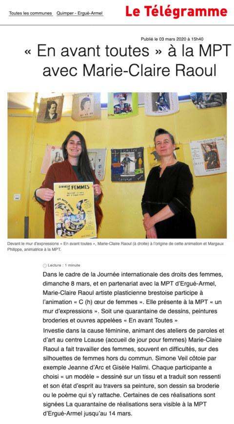 Article du 3 mars 2020 dans le Télégramme de Quimper sur l'exposition [En avant toutes !] et la fresque collective [Paroles et images de femmes] à la Maison Pour Tous Ergué Armel de Quimper.