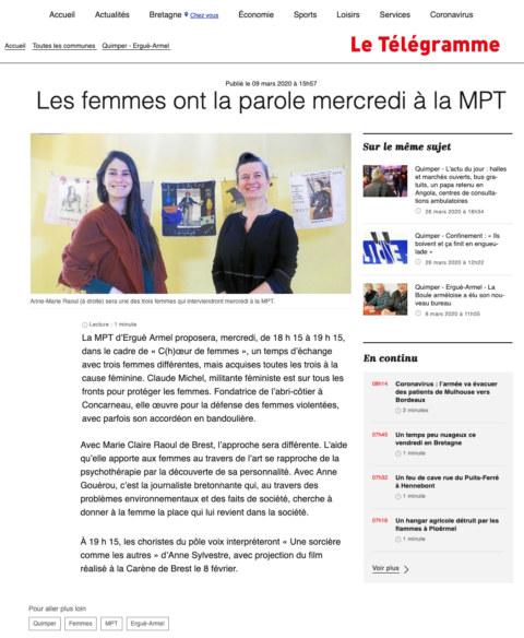 Article du 9 mars 2020 dans le Télégramme de Quimper sur l'exposition [En avant toutes !] et la fresque collective [Paroles et images de femmes] à la Maison Pour Tous Ergué Armel de Quimper.