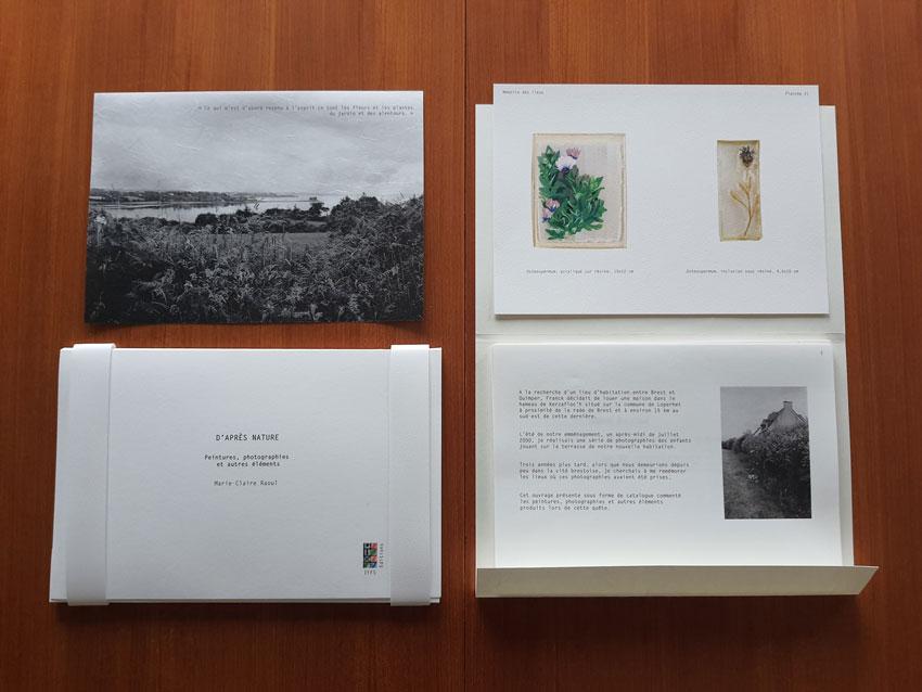 Edition d'artiste [D'après nature] regroupant 26 feuillets mobiles imaginés par la plasticienne Marie-Claire Raoul