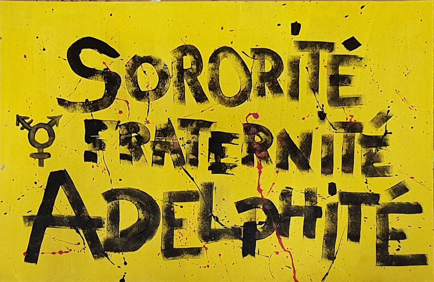 Pancarte de Jérémie, atelier pancartes et slogans [Ensemble rêvons pour demain] samedi 19 septembre à la Maison des syndicats à Brest avec la plasticienne Marie-Claire Raoul