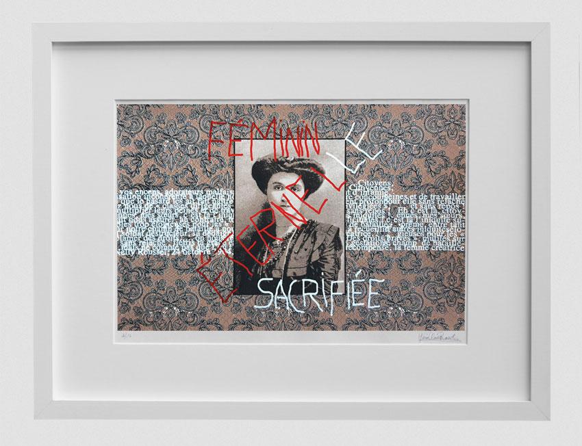 Sérigraphie, Feminin éternel-le sacrifiée, Marie-Claire Raoul, avec cadre