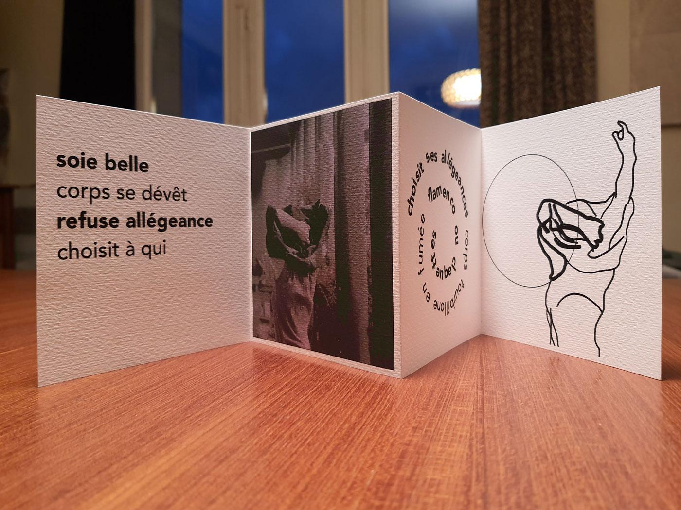 Leporello [Prenez et mangez. mai-juin. Corps pense], édition de l'artiste Marie-Claire Raoul, éditions IFFS, dessin Caroline Denos, novembre 2020