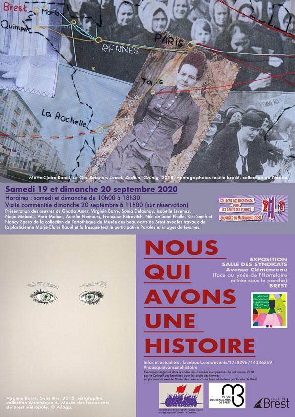Affiche de l'exposition [Nous qui avons une histoire], les 19 et 20 septembre 2021 à la Maison des Syndicats à Brest.